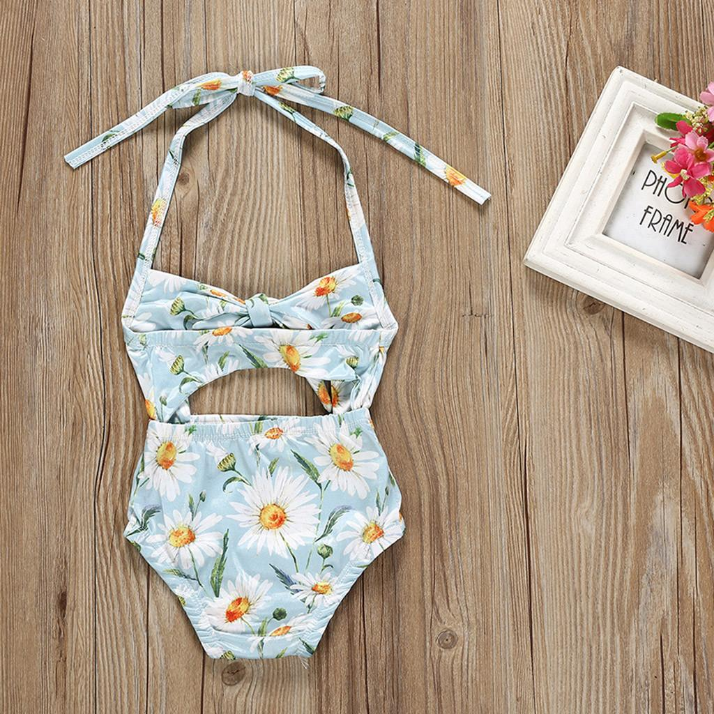 Kids Baby Girls Floral Print Vest Summer Swimwear Swimsuit Romper Jumpsuits