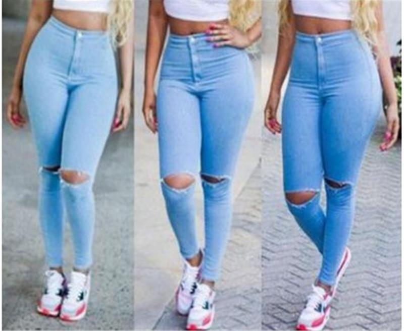 Womens Button Zipper Fly Jeans Spring Slim Hole Jean Long Pencil Pants Girls High Waist Fashion Trousers