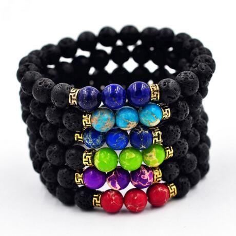 Neue Unisex Perlen Armbänder natürliche Lava Stein Armbänder Retro Buddha Perlen Armbänder natürlichen Vulkangestein Armband