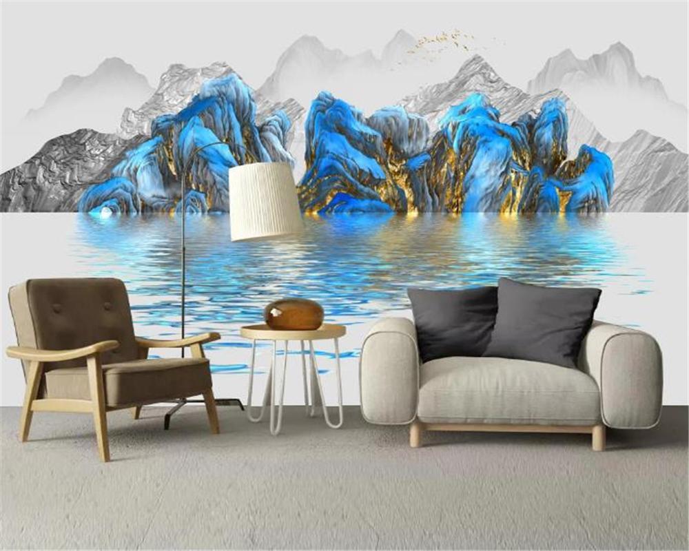 3d обои Спальня Современная роскошь свет Абстрактный чернила Пейзаж Пейзаж фона Стена Картина HD обои