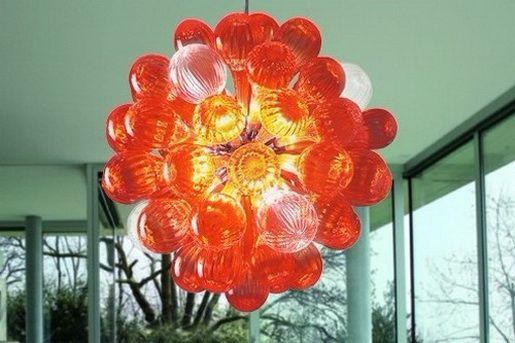 Sala Decor 110V-240V LED Borosilicate bolha de vidro Red Chandelier Iluminações 100% Handmade Art Quarto luz de teto