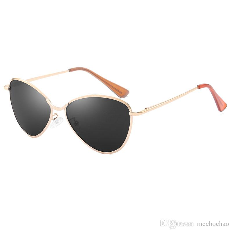 Metal Cat Eye frame Sunglasses Brand designer Sunglasses Women's high quality metal frame uv400 lens fashion glasses glasses with free box