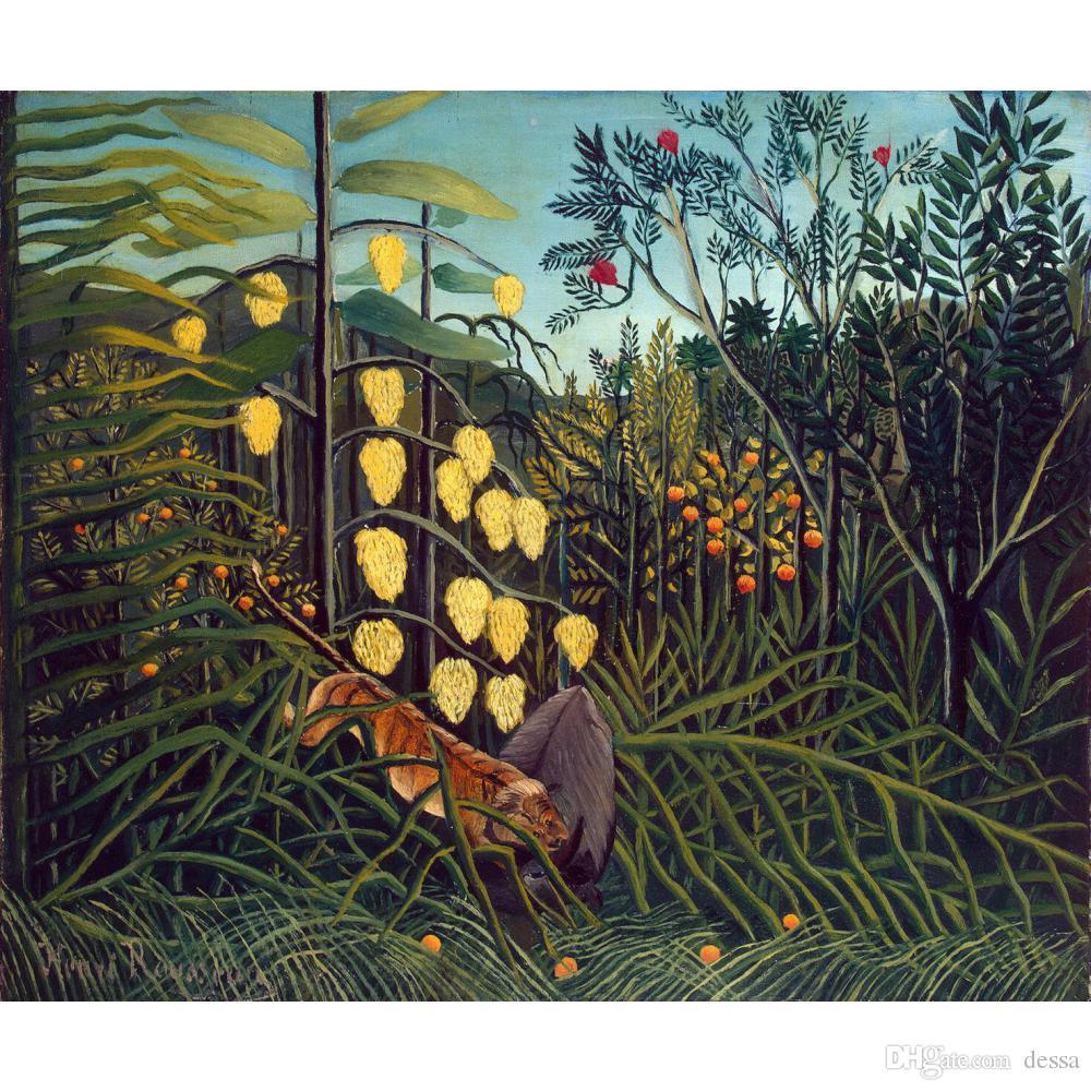 Tropical Forest Battling Tiger e olio Buffalo pittura illustrativo delle pitture di paesaggi dipinte a mano Henri Rousseau per la decorazione della parete