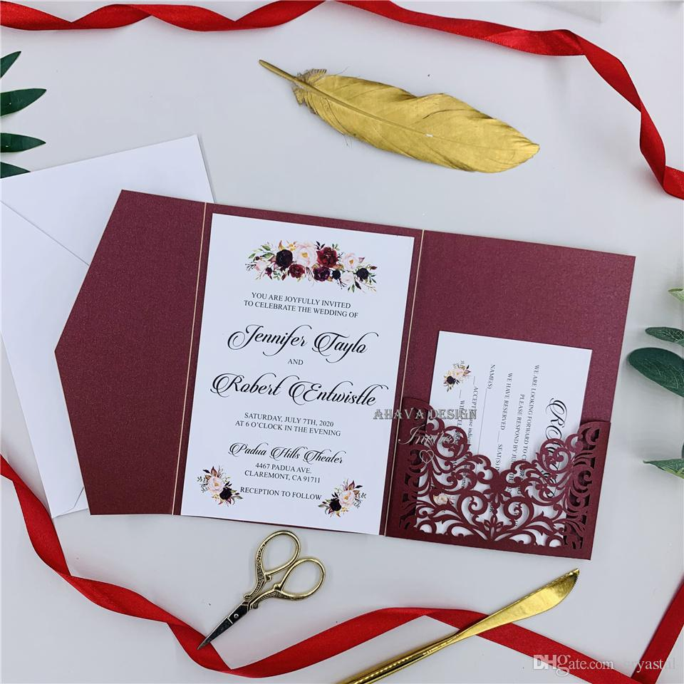 DIY Invitation Kit, Burgundy Laser Cut Invites for Wedding, Quince. Sweet Sixteen, Laser Cut Pocket Invites With Belly Band