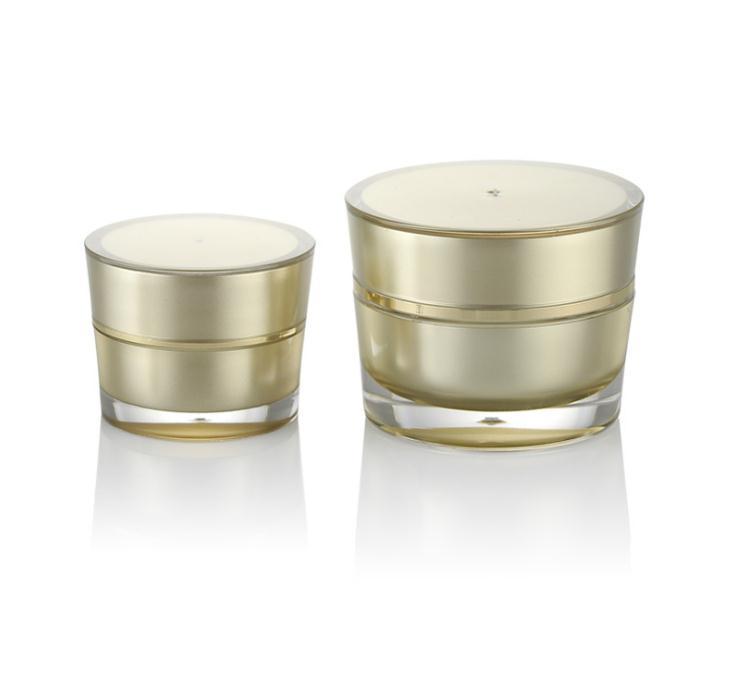 Golden Acrylique Conique Cosmétique Vide Pot Pot Pot Fard À Paupières Maquillage Visage Crème En Plastique Récipient En Bouteille Capacité 5g 10g