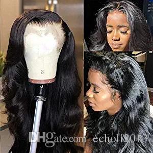 360 de encaje frontal pelucas onda del cuerpo Pre cuerda pulsada Afro americano 150% de la densidad del frente del cordón de Remy Humanos pelucas de pelo natural para las mujeres Negro