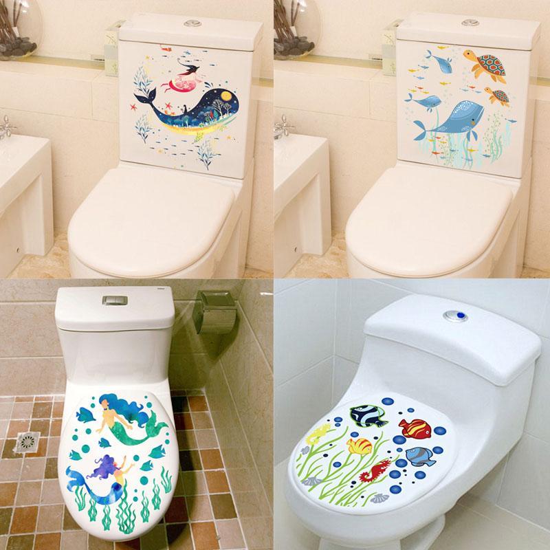 Sealife Balık Klozet Kapağı Çıkartma Ev Dekorasyon Diy Çiçek Sualtı Manzara Duvar Sanatı Banyo Room View Pvc Duvar Çıkartması 3d