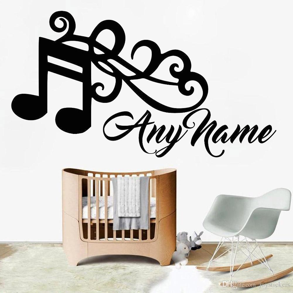 Music Art Wall Decal For Bedroom Personalised Any Name Vinyl Wall Sticker Decor Kids Room Nodic Home Decoration Removable