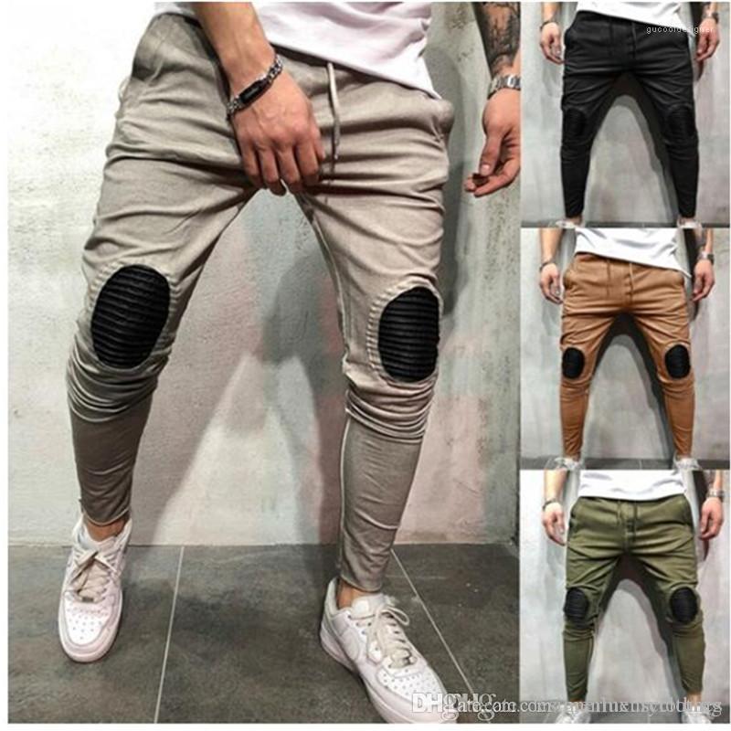 رصاص سروال عارضة ذكر Pantalones البشر أزياء ملابس ركض الرجال الهيب هوب ممزق