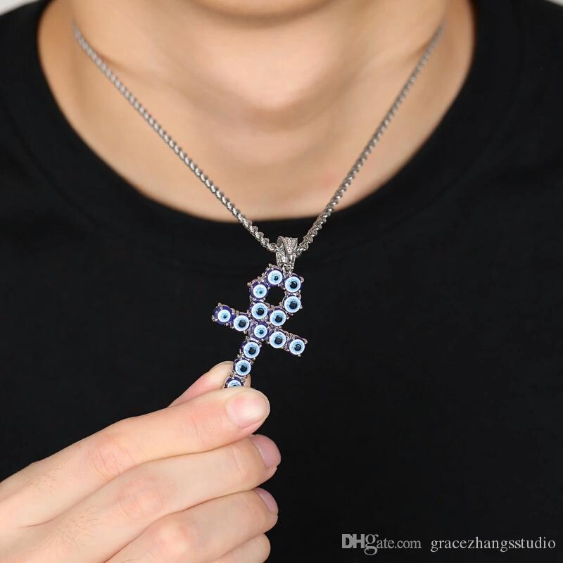 Замороженный вне анха крест кулон ожерелье мужчины роскошного дизайнерские мужских смоляной индейки голубых глаз подвесков HipHop ключа жизни ожерелье ювелирных изделий любви дара