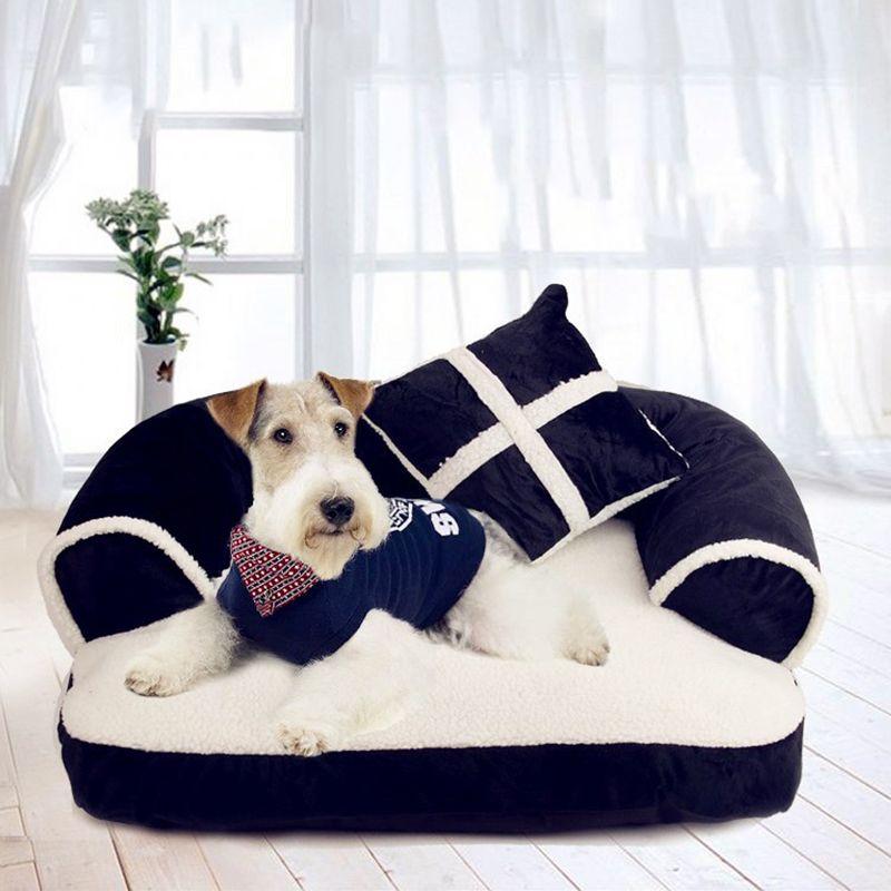 فاخر المزدوج وسادة كلب سرير أريكة مع وسادة قابل للفصل غسل لينة الصوف القطة سرير دافئ كلب صغير سرير
