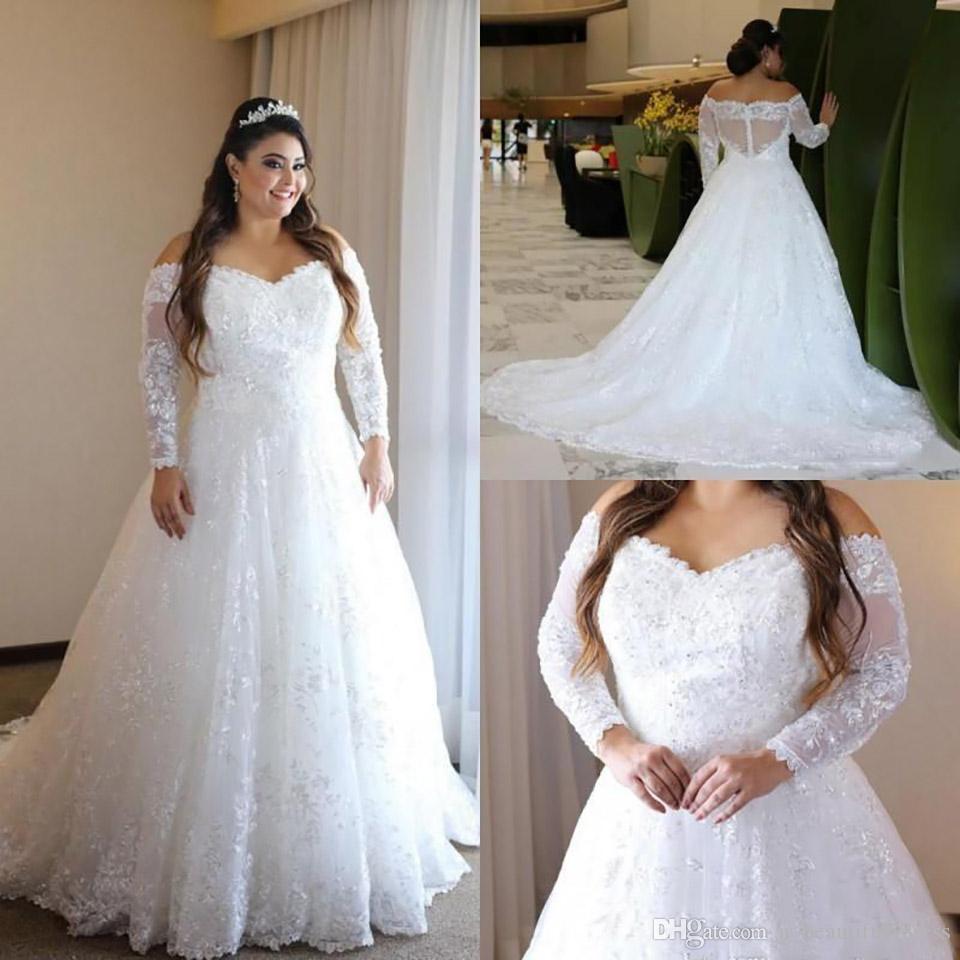 Encaje de la vendimia Plus tamaño vestidos Off The Sheer hombro manga larga vestidos de novia una línea de barrido ilusión Volver vestidos de boda del tren