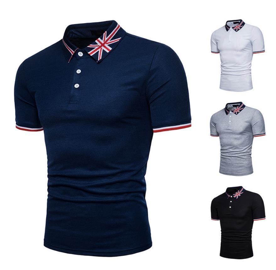 2019 флаг рубашки поло личность повседневная печать с коротким рукавом рис флаг флаг английское слово вышивка большой размер футболки Бесплатная доставка Q88