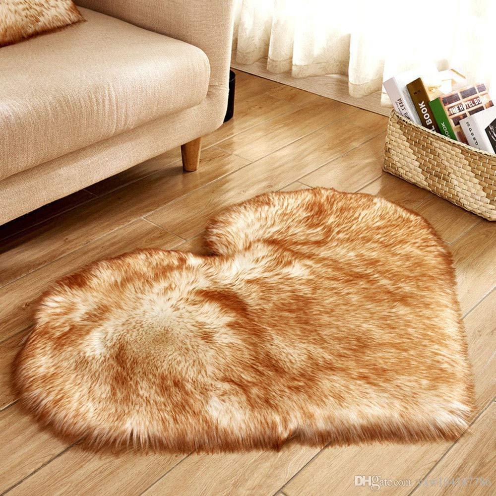 Heart Pattern Carpet Wool Imitation Sheepskin Rugs Mat Faux Fur Non Slip Bedroom Tapetes Mats 40 x 50 cm
