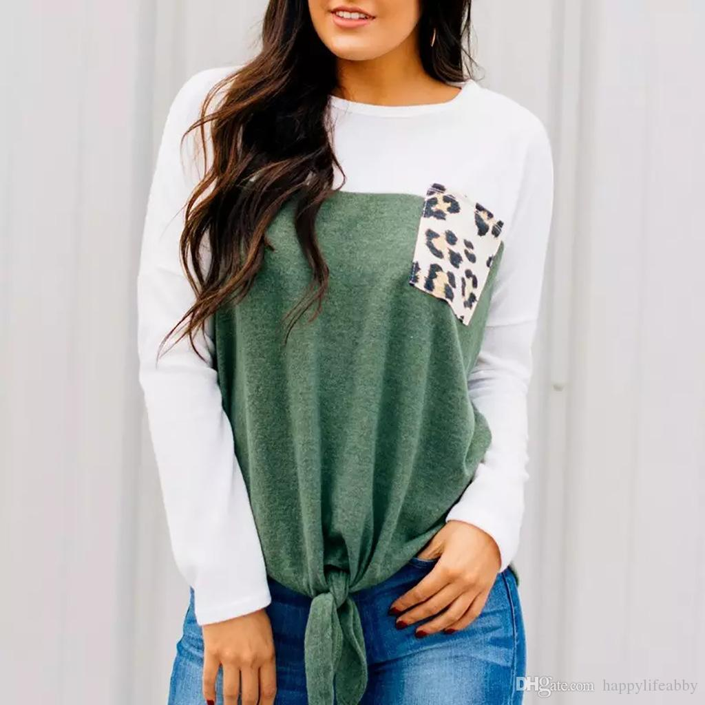 Automne nouvelle mode à manches longues léopard patchwork Femmes sweat léopard poches nouées cravate noeud chemises occasionnels lâche patchwork pull