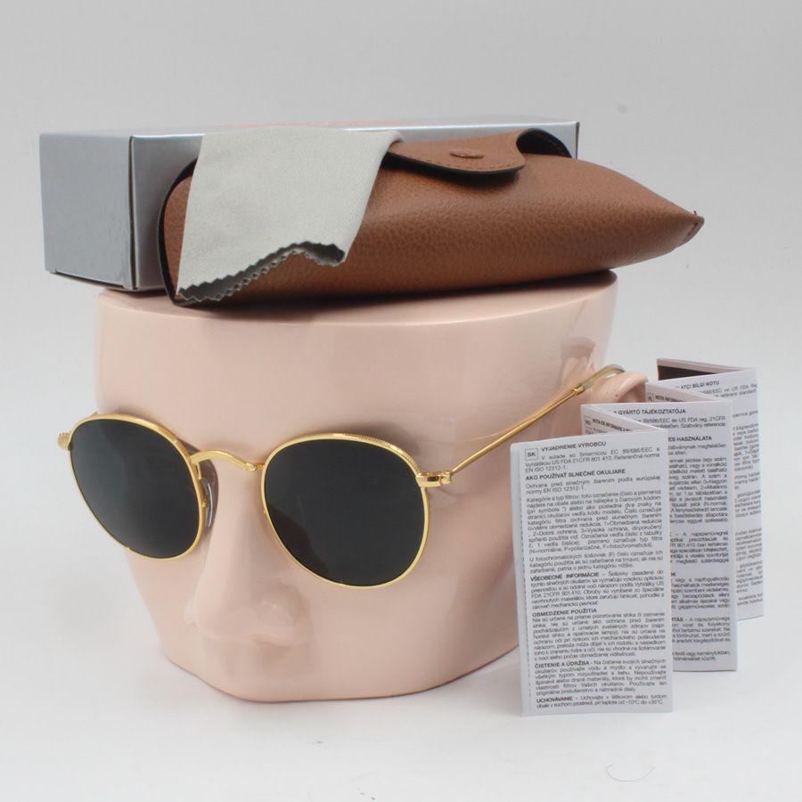 Nuovo Modo di alta qualità Retro designer Maschio Della Signora occhiali da sole di marca golden frame brown 50mm lente in vetro UV400 protezione caso marrone occhiali