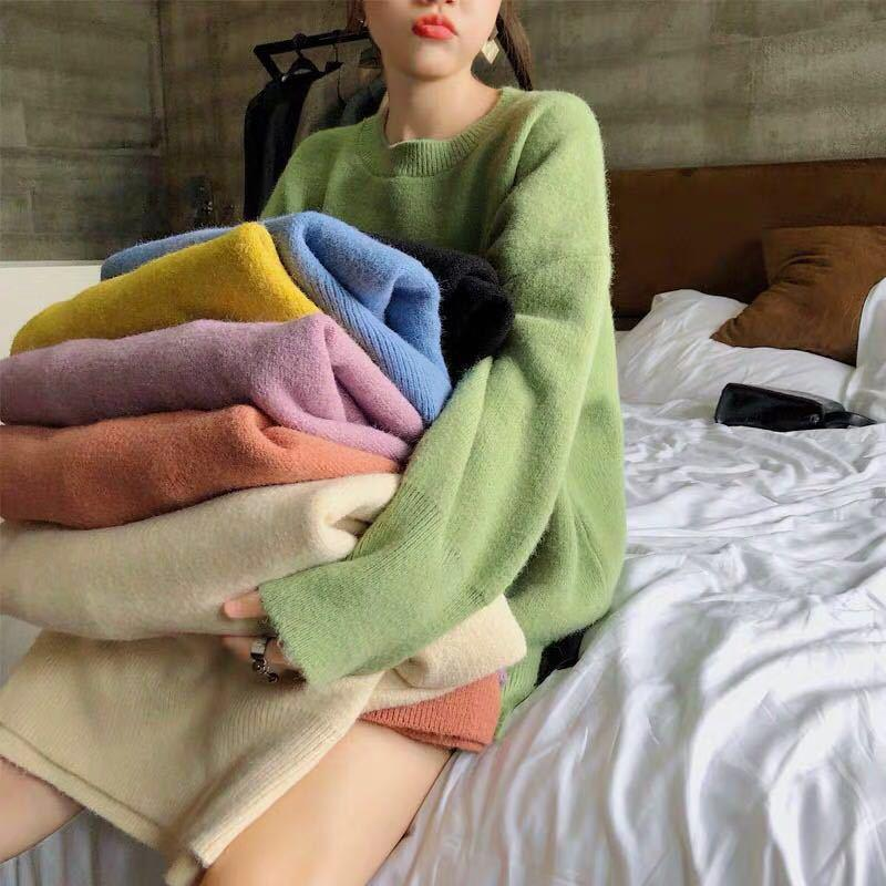 Женская корейская мода конфеты цвета вязаный свитер O-образным вырезом женский повседневный пуловер с длинным рукавом дамы сладкий джемпер