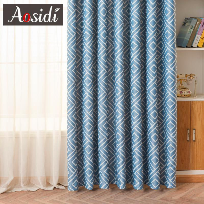 2019 Square Blue Printed Curtains For Bedroom Window Modern Blackout  Curtains For Living Room Blinds 80% Shading Cloth Drapes Fabric From  Aldrichy, ...