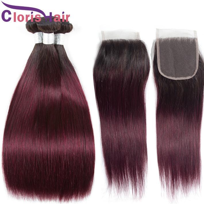 1B 99J Ombre pacotes com fechamento de cabelos humanos retos Extensões de Borgonha Virgem Borgonha e Encerramento de Laço Vinho Colorido Tece Closure