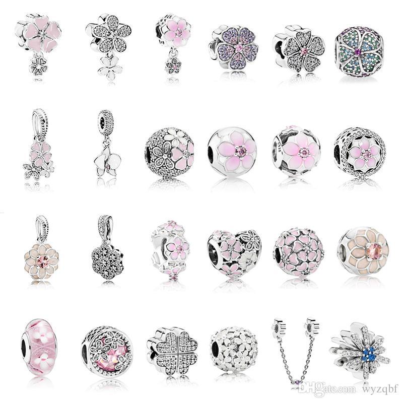 925 Sterling Silver Ажурные Розовый цветок магнолии Шарм Розовый примулы цветок клип Fit Pandora Оригинальный браслет шарма Изготовление ювелирных изделий