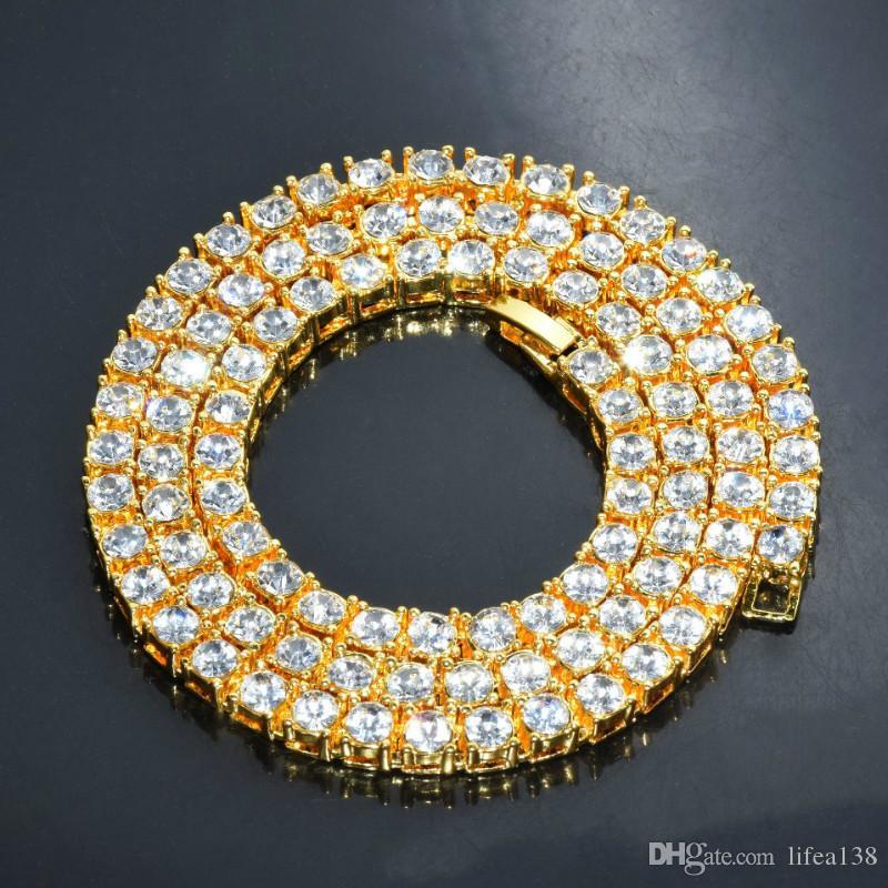 Hip Hop Männer Unisex 30 Zoll Gold Finish 5mm Strass Tennis Link Charme Punk Schmuck Mode Halskette Choker Lange Kette