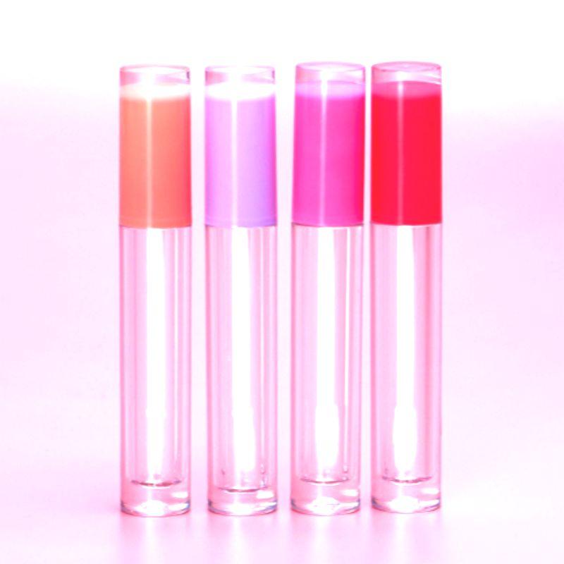 도매 립글로스 포장 라운드 클리어 립 글로스 튜브 립글로스 병 핑크 빈 립글로스 튜브 리필 립글로스 병 용기