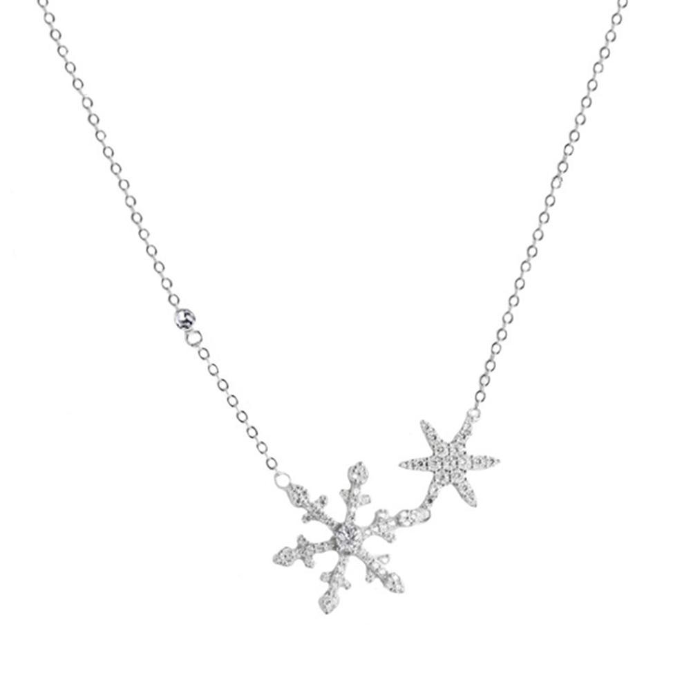 Богемия женская Шарм Серебряный Снежинка Кристалл ожерелье кулон цепь Рождество Новый год подарок