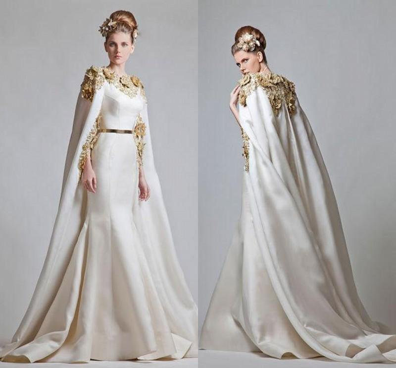 Fancy Elegant Zuhair Murad 2016 Evening Dresses Gold Appliques Satin Mermaid Prom Dresses With Cape Sweep Train Saudi Arabic Formal Wear