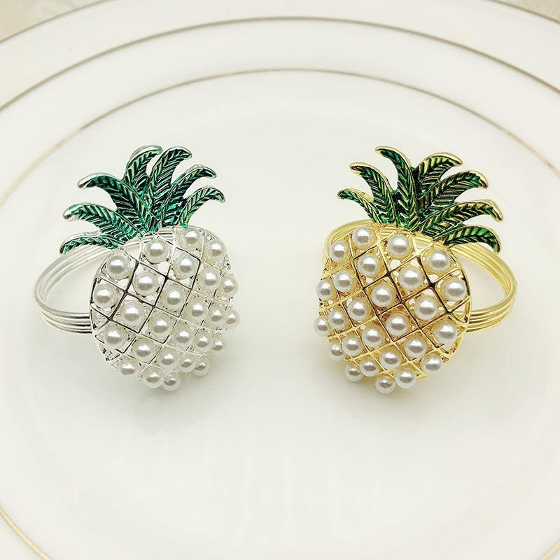 gold silver pineapple with pearls napkin ring wedding holiday decoration family candlelight dinner napkin holder 24 pcs