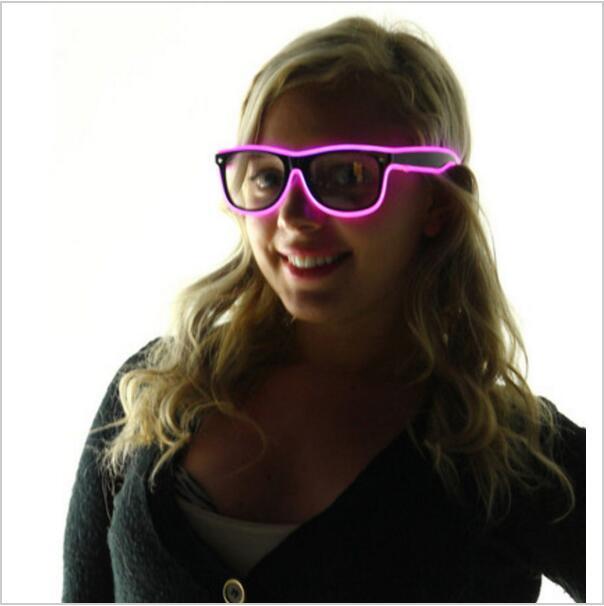 Atacado óculos El fio Moda Neon LED Light Up do obturador em forma de brilho Sun Glasses Rave Costume Party DJ brilhante dos óculos de sol OOA7136
