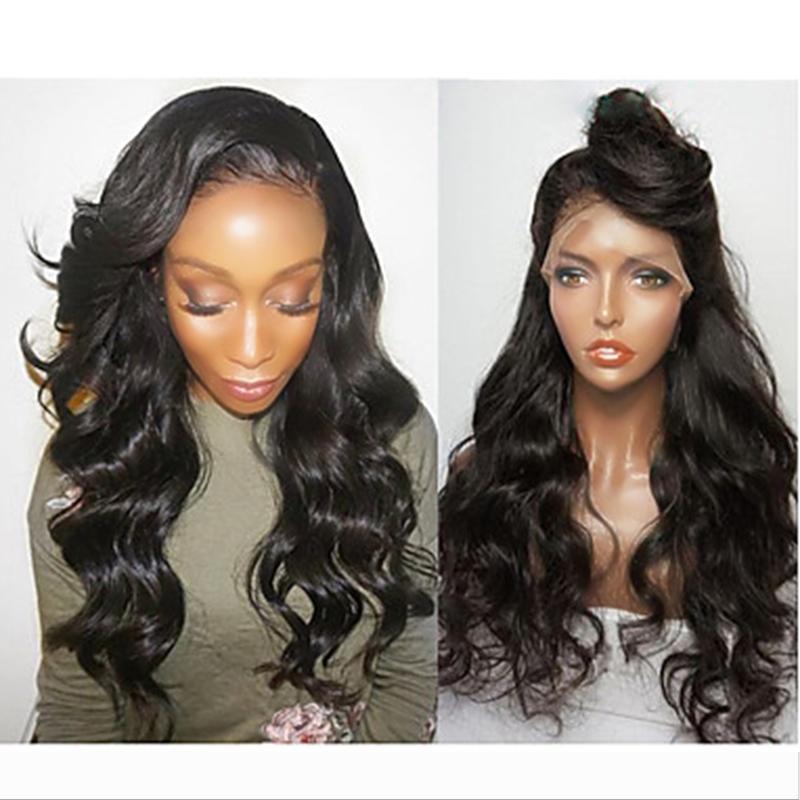 Kadınlar Cosplay peruk için% 180 Yoğunluk Uzun Dalgalı Peruk Sentetik Doğal Siyah Dantel Açık Peruk Gevşek Vücut Dalga Peruk Isıya Dayanıklı Fiber