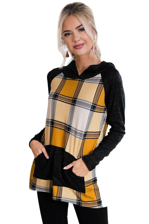 Lieber Liebhaber 2020 Freeshipping Frauen Kleidung auf Lager Artikel Großhandel Yellow Plaid PulloverHoodie