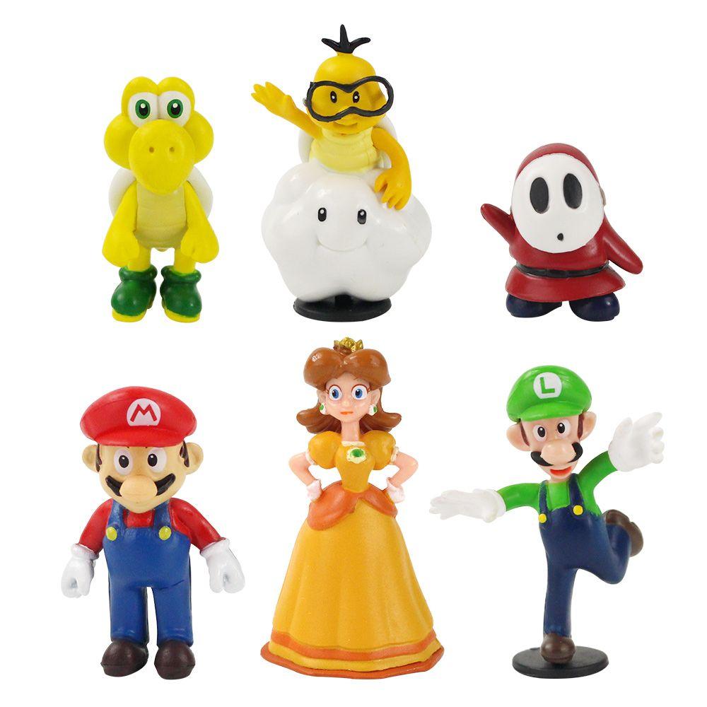 6pcs / Set Super Mario Bros PVC Figurine Jouets Poupées Mario Luigi Yoshi Champignon Donkey Kong En boîte-cadeau