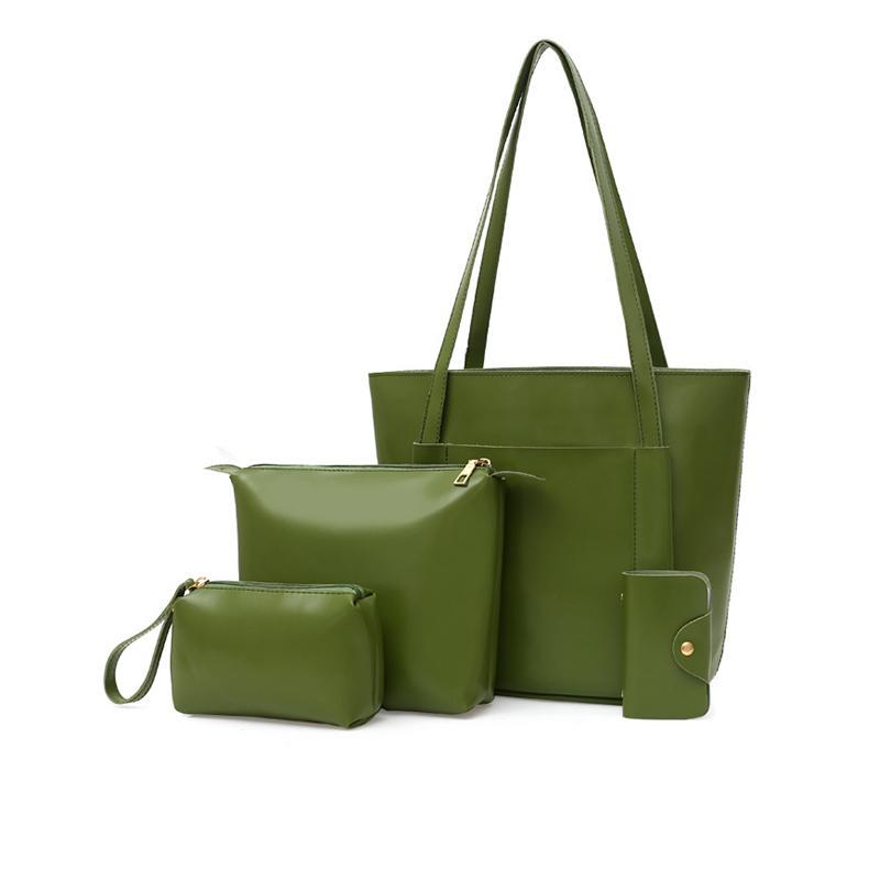 nouvelle mode décontracté 4pc / SET femmes sac à bandoulière en plusieurs pièces à main ensemble de sac d'emballage solide vert avocat