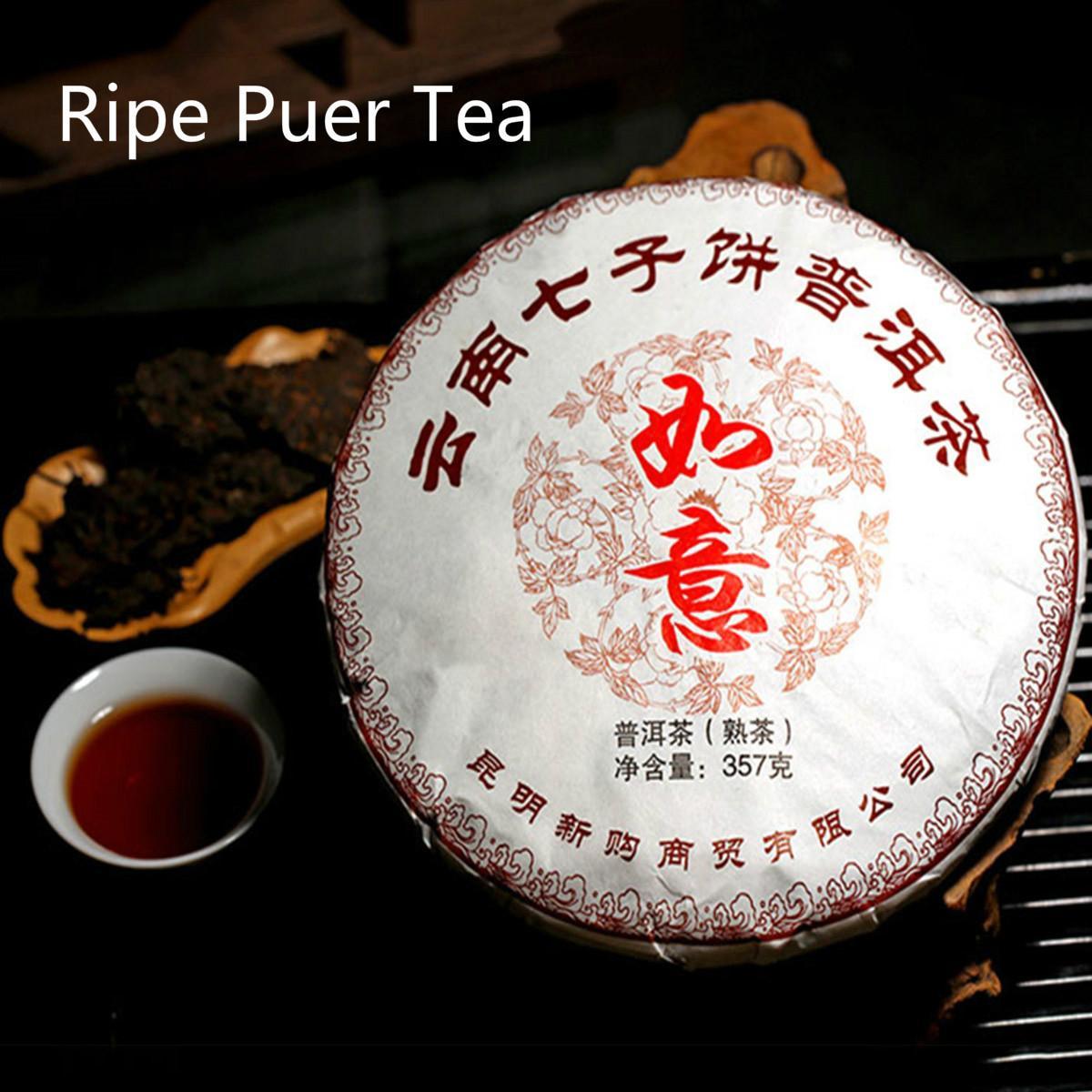 Puer thé Ripe 357 g Gâteau Yunnan Qizi Wishful Noir Puerh Thé vieil arbre Puerh naturel bio cuit Puer préféré