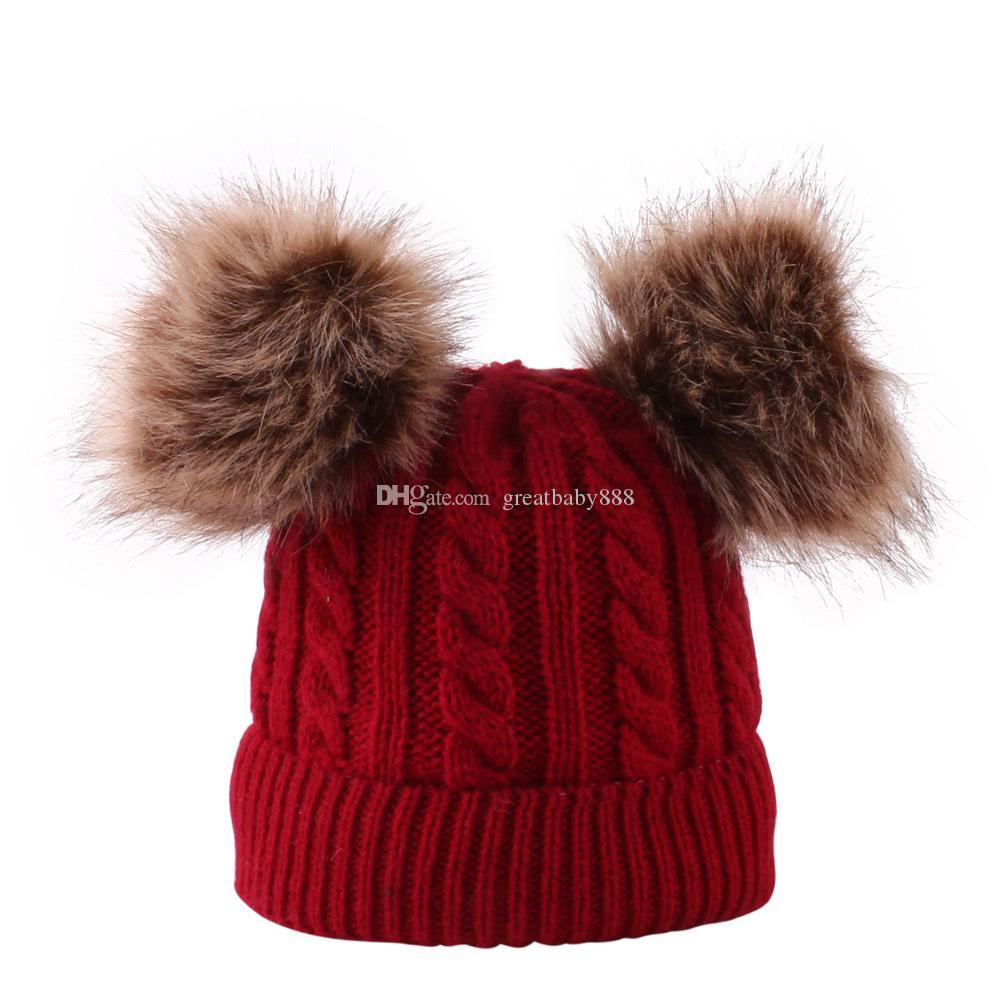 Bebek Örgü Cap Çift Saç Topu Ponpon Fasulye Twisted Kanca Cap 5 Renk Kış Bebek Çocuk Boy Boy Kız Cap M825 Isınma