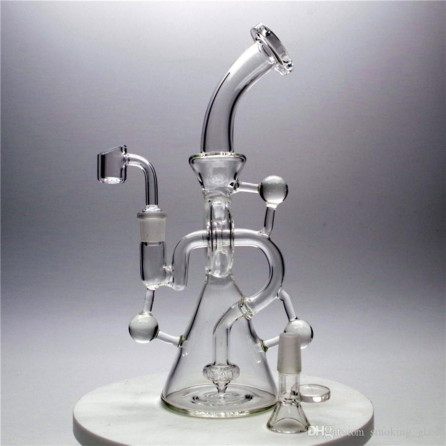 Hookahs 10inches Recycler Dab Rig Rig Glass Bong com 14mm tigela de vidro fumar Tubos Global Entrega