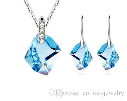 2set/lots high quality low price wedding bride crystal diamnd lady's set necklace pendant earings 57.14vv