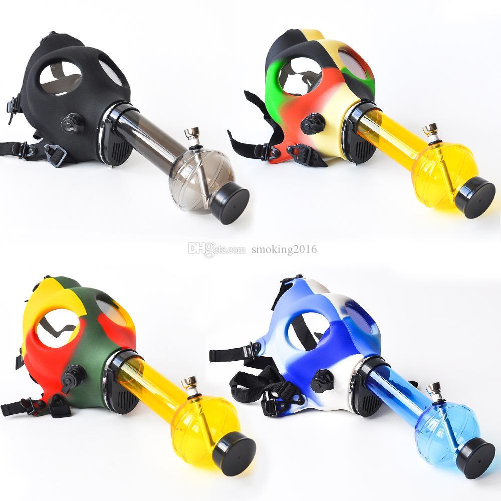 실리콘 마스크 창조적 인 아크릴 흡연 파이프 가스 마스크 파이프 아크릴 봉 타바코 시샤 파이프 물 파이프 무료 배송