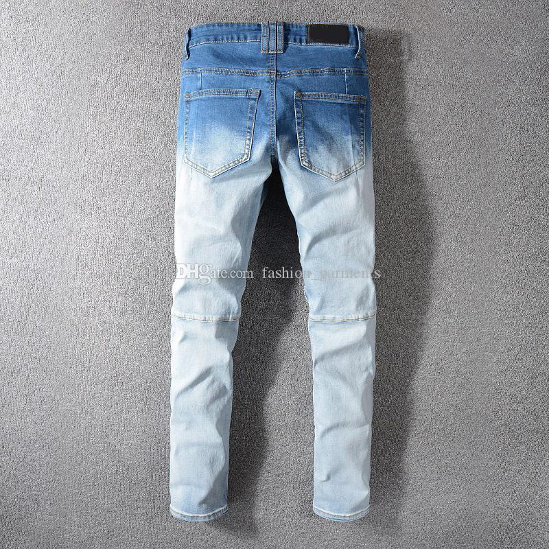 Los nuevos Mens del estilista de los pantalones vaqueros de Hip Hop desteñida Zipper Jeans casual para hombre rasgó los pantalones de mezclilla azul tamaño 29-42