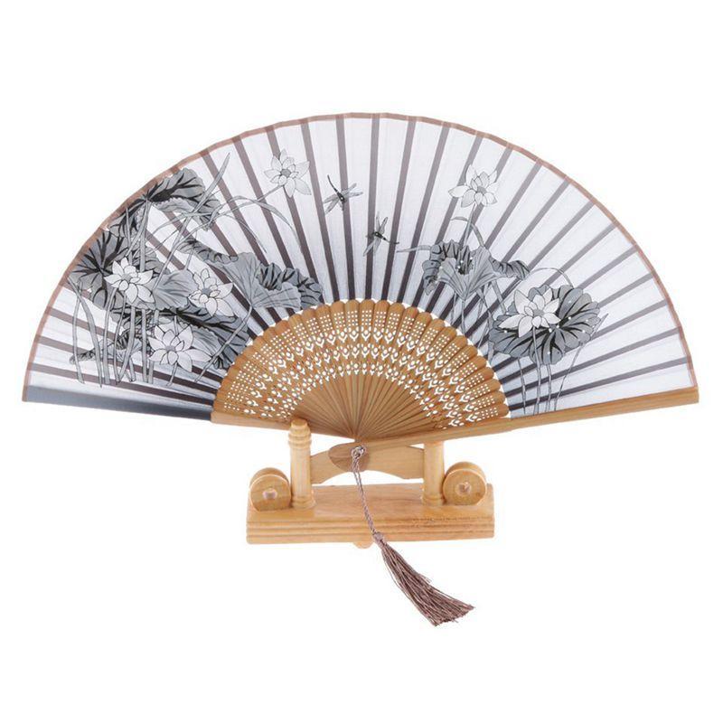 İpek el fan, Lotus katlama fan bambu gri