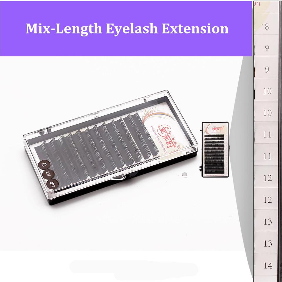 12 строк / корпус 7~15 мм Mix наращивание ресниц премиум натуральный ресниц расширение отдельных ресниц в одном лотке ресницы