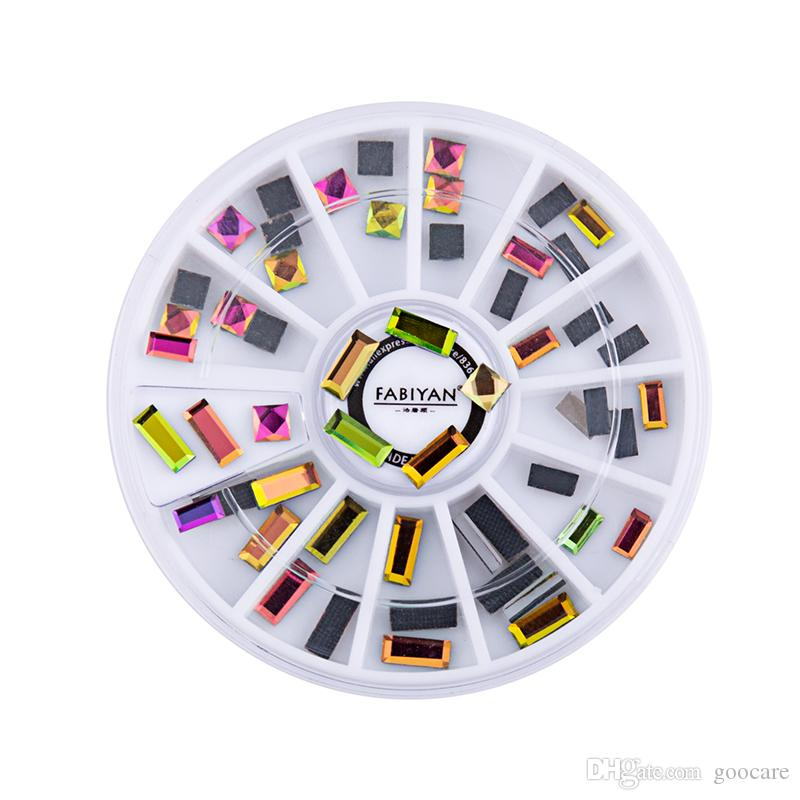 Decoração de unhas Roda da arte Retângulo Praça AB Rhinestone cristal UV Gel Polish Glitter Dicas 3D Jóias Acessórios Ferramenta de Manicure