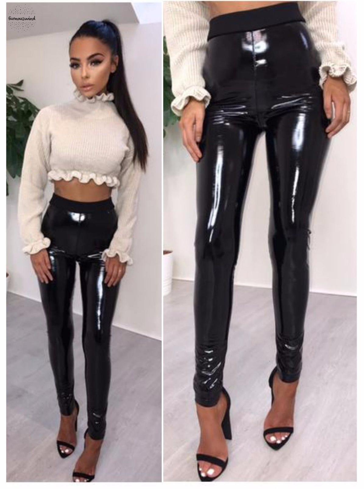Cuoio del Faux pantaloni dell'unità di elaborazione signore elastiche molli lucido effetto bagnato leggings in pelle pantaloni femminili alla moda Skinny Pantaloni neri