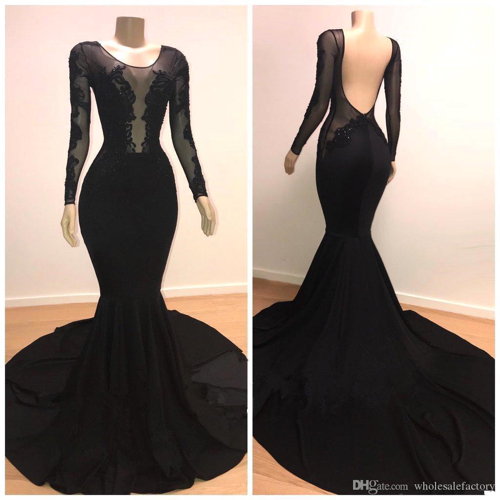 Negro mangas largas satinado sirena vestidos de baile 2019 Sheer Tulle encaje apliques sin espalda barrido tren fiesta formal vestidos de noche BC0872