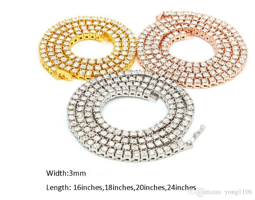 New fashion trend in Europe and the United States hip-hop 3mm alloy water drill a row of high-quality Necklace Gold Silver Rose Gold multi-s