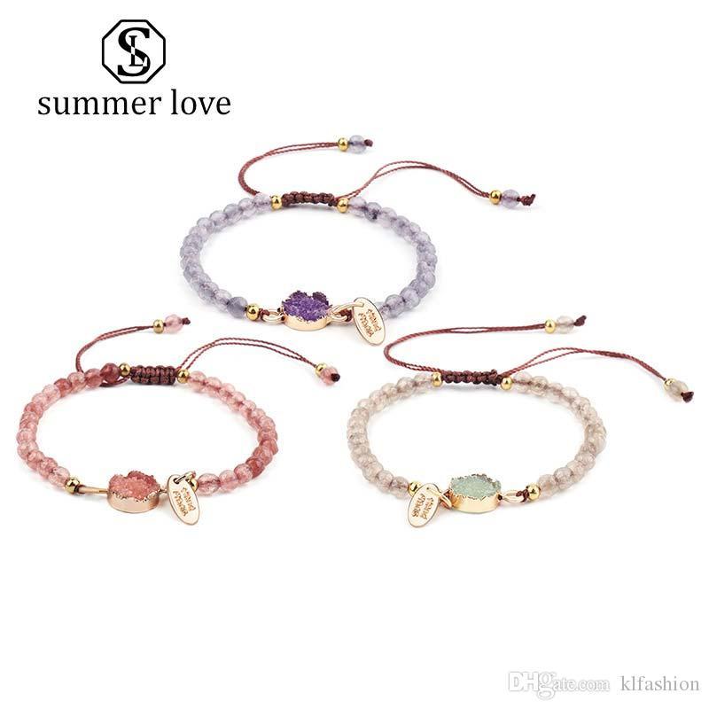 New Handmade 4MM Amber Stone Braided Beads Bracelet for Women Pink Purple White Adjustable Weave Bracelet Fashion Jewelry