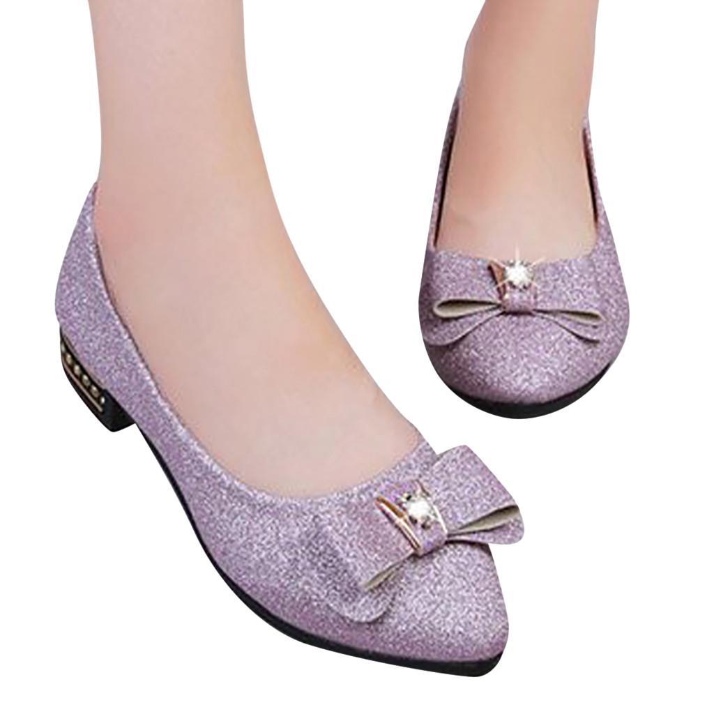 Casuais Sólido Borboleta-nó Ponto Plana Toe Fino sapatos Sapatos Confortáveis das senhoras Casual Bowknot Strass Salto Baixo Plana