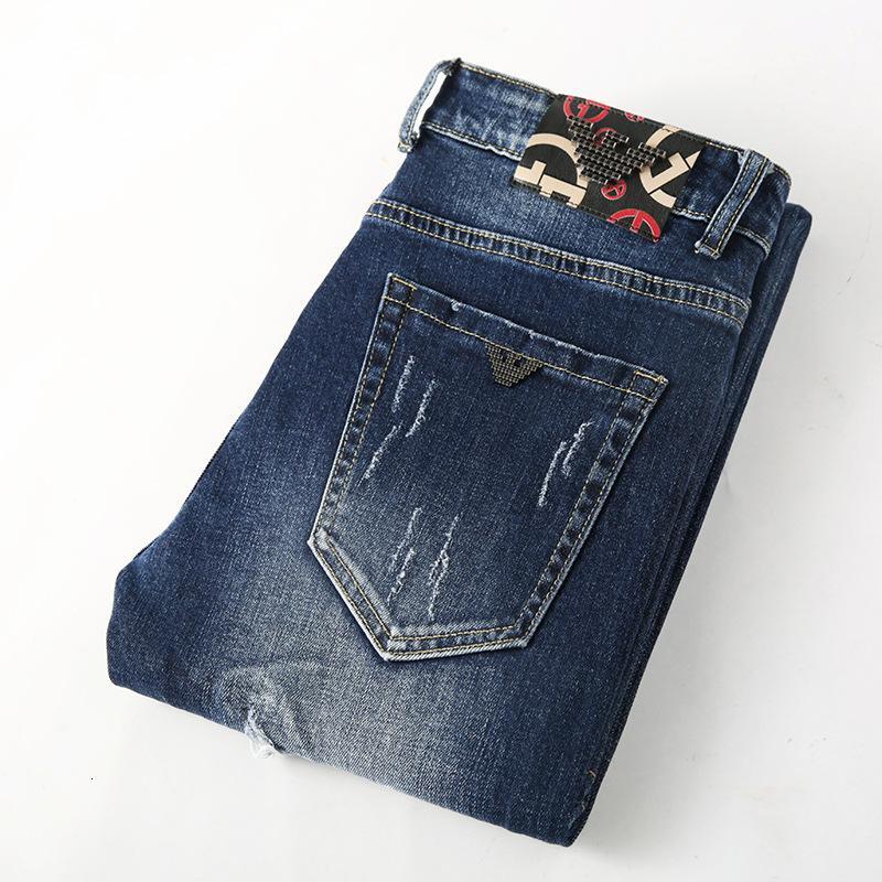 Aj Erkek Jeans Gençlik Delikler Bağlı Ayaklar Kendinden yetiştirme Elastik Kuvvet Saf Pamuk Uzun Pantolon Erkek Giyim