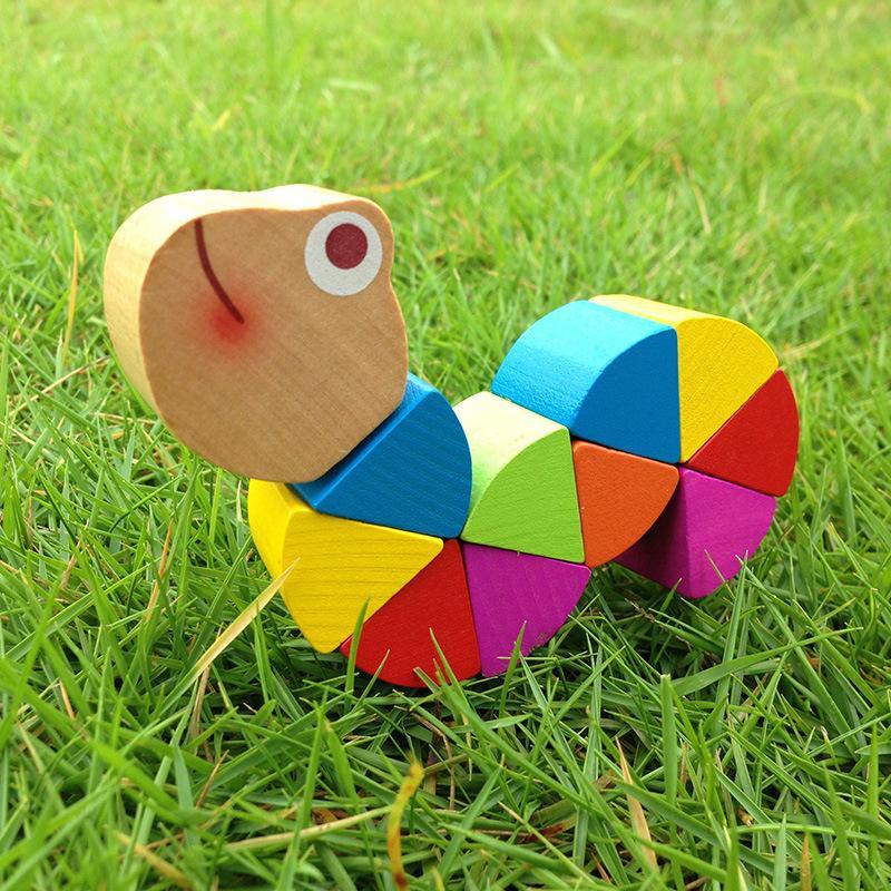 ملونة خشبية السحرية الحشرات DIY لغز كاتربيلر اللعب دودة للأطفال طفل الألوان التعليمية هدية عيد ميلاد التنموي